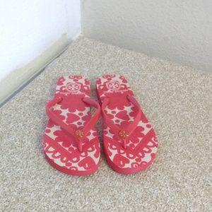 Tory Burch Red Rubber Flip Flops
